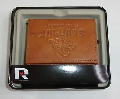 10da42ef0 NFL Jacksonville Jaguars Embossed Genuine Cowhide Leather Trifold Leather  Wallet