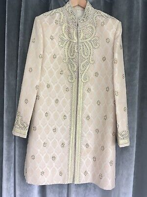 mens wedding sherwani Size 42 Gold/beige/Chrystal Stonework