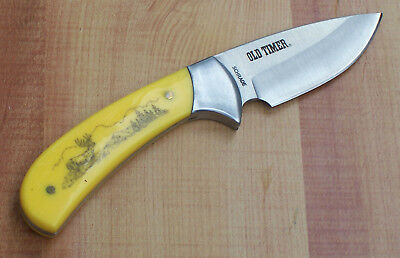 SCHRADE OLD TIMER YELLOW DELRIN SCRIMSHAW DEER HUNTING KNIFE with SHEATH NEW