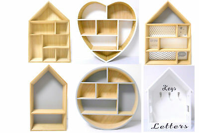 Floating Wooden Wall Mounted Hanging Display Unit Letter Rack Shelves Home Decor
