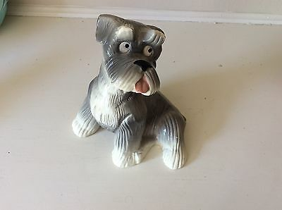 Vintage Schnauzer ceramic coin bank with plug adorable
