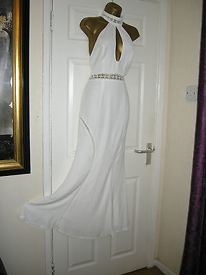 6 Petite Jarlo Ivory Dress Maxi Plunge Keyhole Wedding Party Summer Holidays