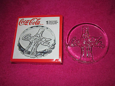 New Boxed  Lead Crystal 3.5 Inch Coca Cola Glass Paperweight Cristal D'arques