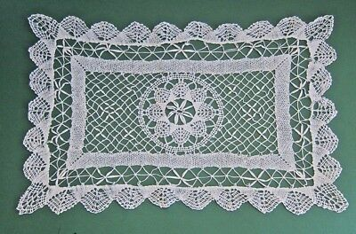 Vintage White Hand Bobbin Lace Rectangle Center Piece Large Doily
