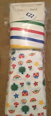 Little Bird By Jools Oliver Pack Of 2 Jersey Fitted Single Bed Sheets 🌈 Bnip 🌈