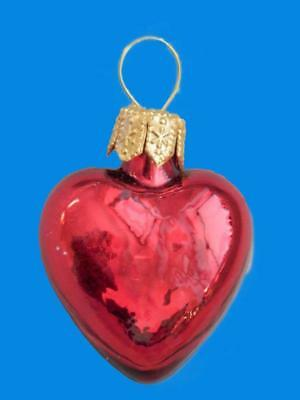 Mini Red Gold Heart German Blown Glass Christmas Valentine's Day Ornament