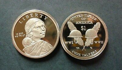 """2016-S Proof Native American Golden Dollar Lowest Ever Mintage """"code Talkers"""""""