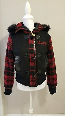 Coogi Deadstock Bomber Jacket  Hoodie detachable Faux Fur Varsity Plaid