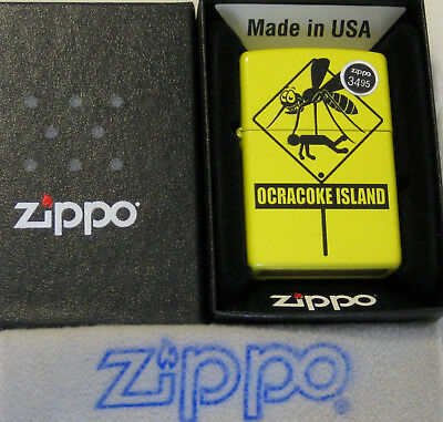 ZIPPO  OCRACOKE WARNING Lighter MOSQUITO Sign  NEW Tourist  MINT In Box NOS