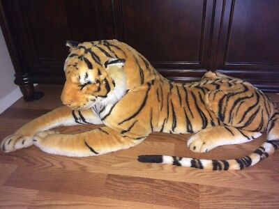 Huge Jumbo Plush Tiger 70 Stuffed Animal Toy Realistic Giant Cat
