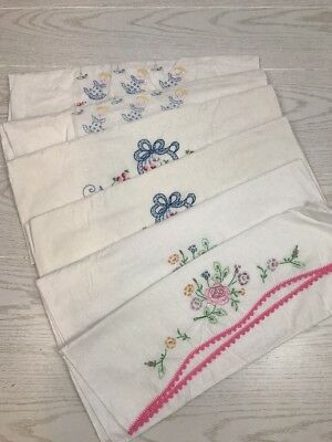 LOT OF SIX Vintage Hand Embroidered Crochet White Pillow Cases Shams Floral Girl