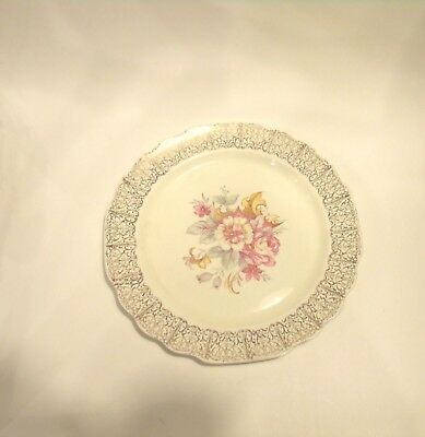 "W.S.George Canary Tone Lido Plate Gold Filigree Rim Floral 9.5"" 148-A"