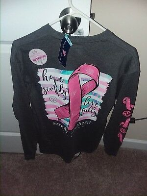 NWT NEW Simply Southern Long Sleeve T Shirt ADULT Breast Cancer LARGE L Women's