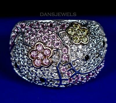 Official Authentic SANRIO in STERLING SILVER Hello Kitty .925 CZ Ring SZ 6