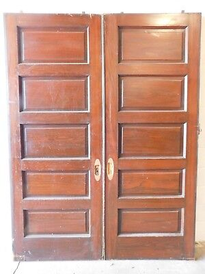 1890's Wooden Double POCKET DOORS Five Raised Panels VICTORIAN Style Fir ORNATE