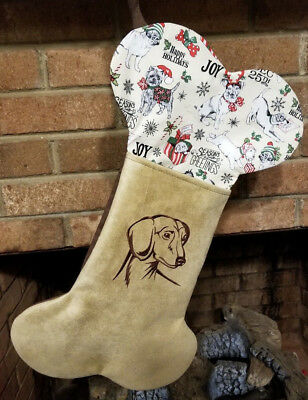 Personalized Tan Embroidered Dog Breed Stocking, Now have Pit Bull Design