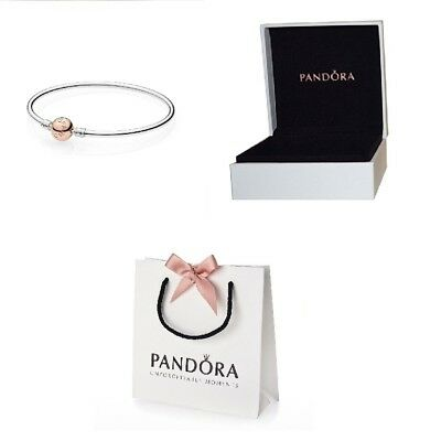 fac3eab63 New Pandora Moments Silver Bangle Bracelet With Rose Clasp 580713 Uk Gift