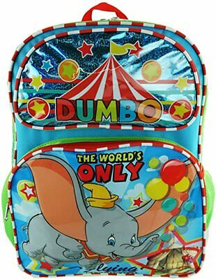 """NEW ARRIVE Dumbo Circus Elephant Allover Print 16"""" Large School Backpack"""