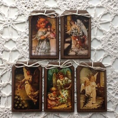 5 **NEW** Handcrafted Wood ANGEL Christmas Ornaments/Hang Tags Set(1)