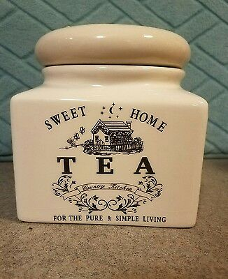 Ivory Ceramic Tea Canister with Lid