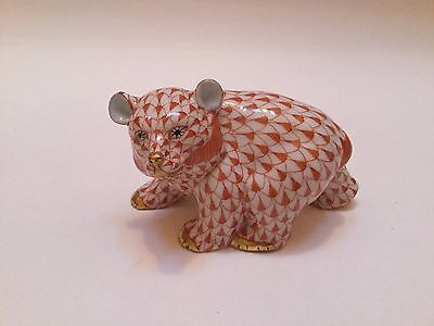 Herend Handpainted Baby Bear Cub Walking Figurine Rust Fishnet Excellent