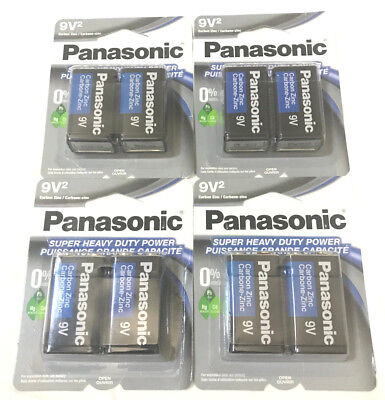 8 EIGHT Pieces Panasonic 9 Volts 9V Battery Batteries Super Heavy Duty EXP 2022