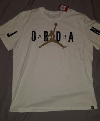 c65d14c14b8f NIKE AIR JORDAN Stretched Mens Tee T-Shirt White Gold 840398 101 2Xl ...