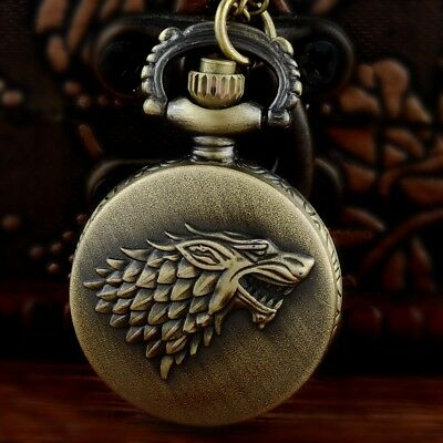 Vintage Game Of Thrones Mens Quartz Pocket Watch Necklace Chain Pendant Gift New
