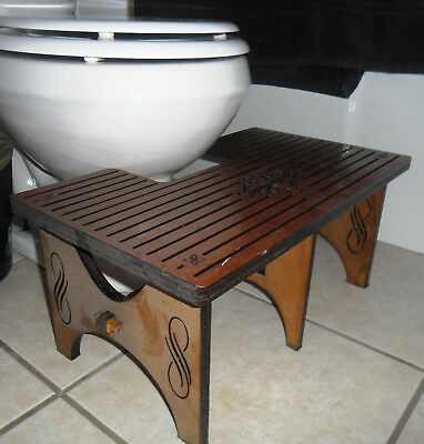 Hand-Made Laser-Cut Art Deco squatty-potty style toilet foot stool One of a kind