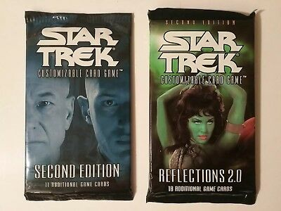 Star Trek Ccg Second Edition Sealed Booster Lot 2 Packs Reflections 2.0 & Base