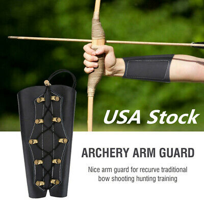 Black Archery Arm Guard Traditional Leather Bracer Protector Recurve Bow US