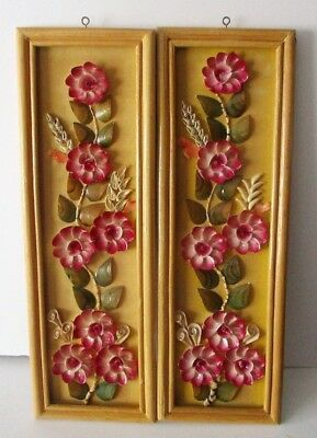 Vintage Real Shell Flower Pictures Seashell Floral Art Wall Hanging OOAK VTG