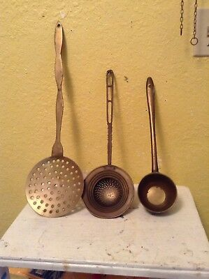 Antique 19th Century Brass 3 Pc American Hearth Ladle