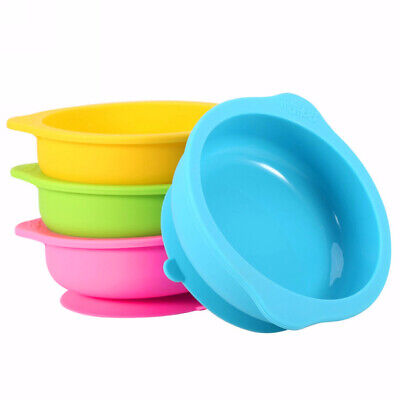 3 Color Baby Feeding Bowl Silicone Infant Suction Base Toddlers Dish Tableware