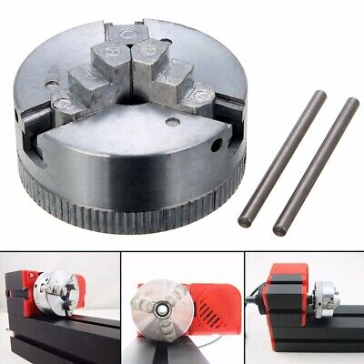 M12*1 45mm Metal 3 Jaw Lathe Chuck Self Centering Hardened + 2pcs Lock Rods US
