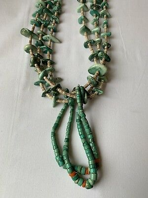Vintage Navajo Turquoise Multi color Natural Nugget and Shell Bead Necklace Old!