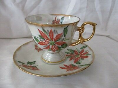 Christmas December footed cup & saucer set Poinsettia gold iridescent red green