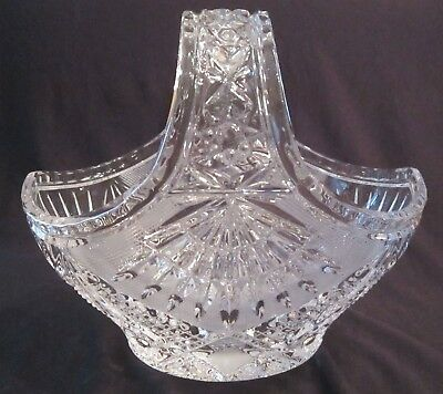Sparkling Vintage Pressed Glass Handled Basket - 7 inches tall & 8 in. wide