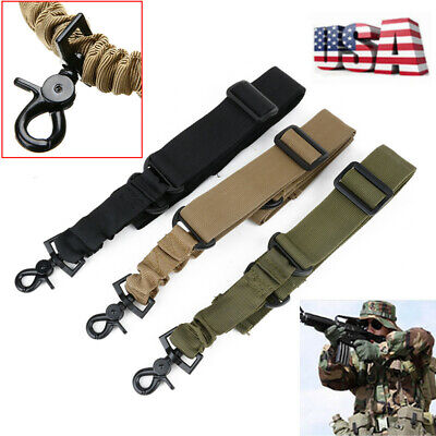 Tactical One Single Point Sling Adjustable Bungee Rifle Sling Strap US