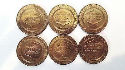 Dunes Hotel Casino Lot of Six, One Dollar Gaming Tokens from 1965
