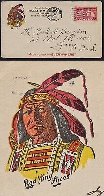"""Adv Cover """"red Wing Shoes"""" W/ Indian Illustration. Fort Wayne, Indiana. 1927"""