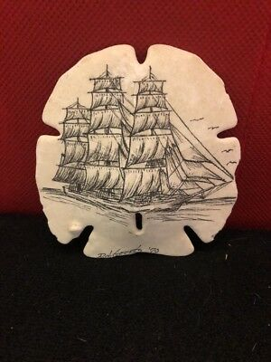 "Large Hand Painted Sand Dollar Nautical Ship Schooner  4 1/2"" x 5"""