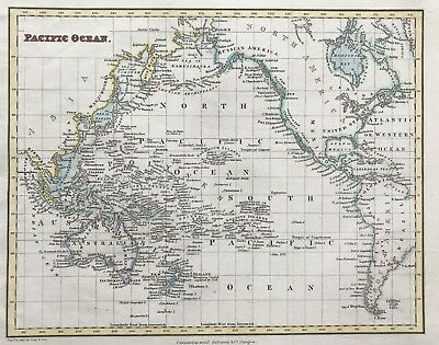 Antique Map PACIFIC OCEAN by Arch Fullerton original steel engraved hand color