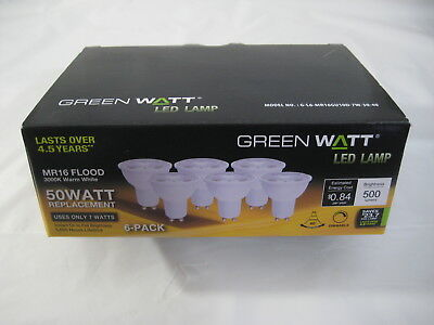 New 6 pk Green Watt LED Lamp 50W Dimmable Warm White MR16 Flood Replacement Bulb