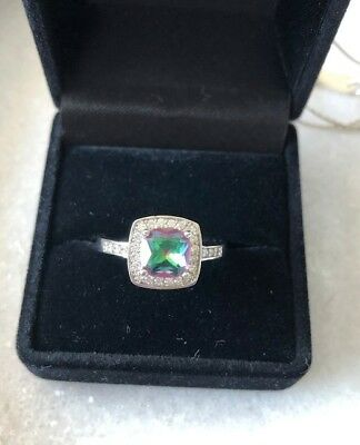 Authentic Magnolia Jewellery - Sterling Silver Mystic Topaz Ring - Size Medium