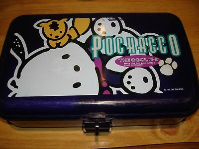 Sanrio 1996 Pochacco Purple Plastic Pencil Case Storage Box ERASER HELLO KITTY