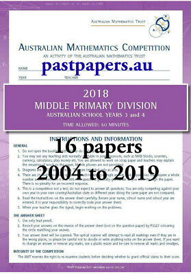 Australian Mathematics Competition ~ AMC Middle Primary Division Year 3 & 4