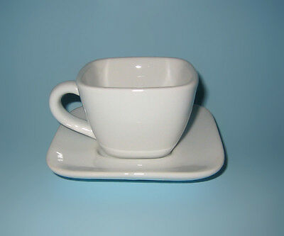 Square Crate Barrel Espresso Coffee Cup Saucer White Porcelain Demite