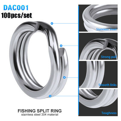 Line Tackle Fish Connector Swivel Snap Stainless Steel Fishing Split Rings