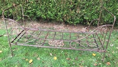 Wonderful French Antique Wrought  Iron Folding Daybed - Rose Plaque